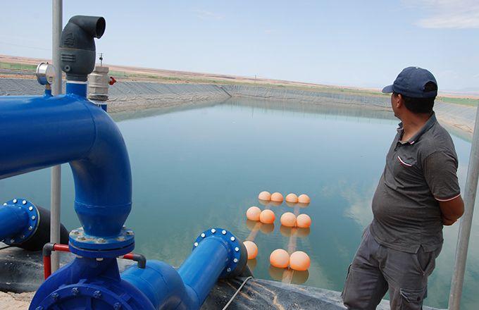 Bassin d'irrigation dans une exploitation de palmiers dattiers près d'Errachidia, au Maroc. Photo : Antoine Hervé