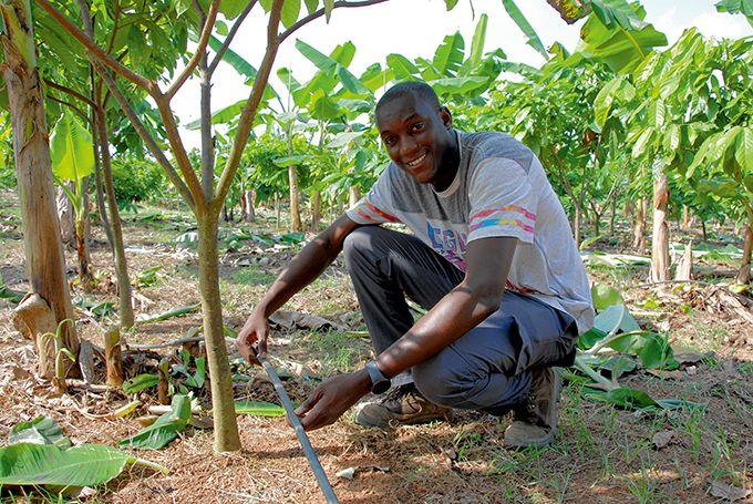 Cédric Tossavi supervise l'irrigation des plantations.