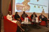 Panel d'ouverture du congrès (de g. à dr.): Angelle Kwemo (Believe in Africa), Mbarka Bouaida (MAPM), SE John Dramani Mahama (BAD) et Aziz Mekouar (ancien ambassadeur du Maroc aux USA).